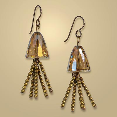 How to Make Crystal Bronze Persuasion Tassel Earrings by Laurae Sather