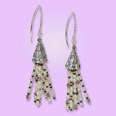 Tutorial for Lilac Crawley Tassel Earrings by Rita Hutchinson