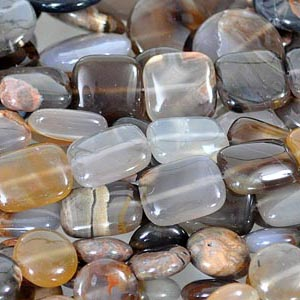 Thunder Agate beads, mined near Thunder Bay, Ontario, and cut in China.