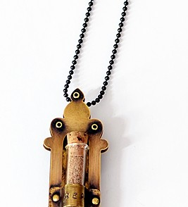 Healing Shrine (necklace or magnet) -- with glass vial and rivets