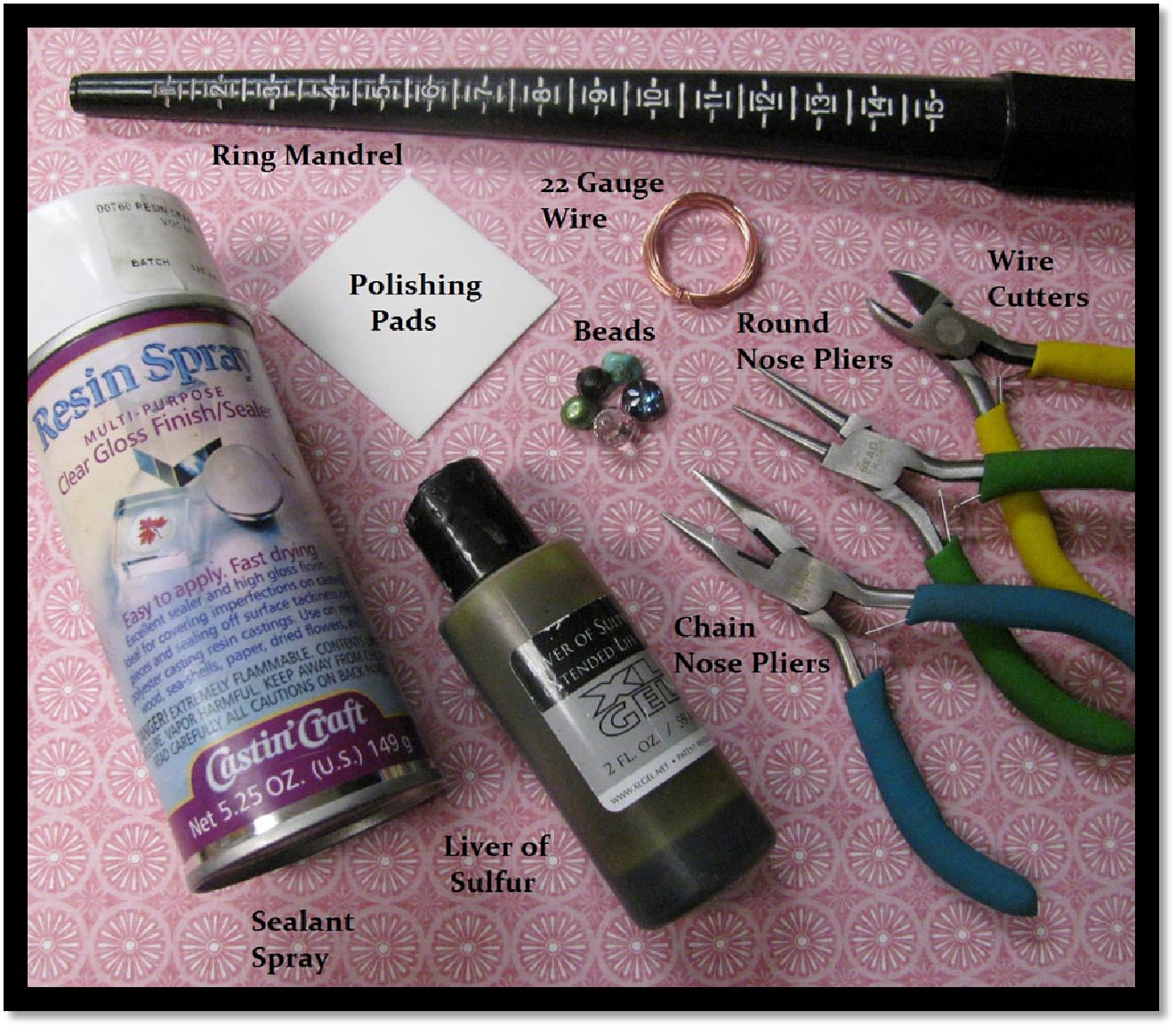 Supplies needed to make a diy wire wrapped ring