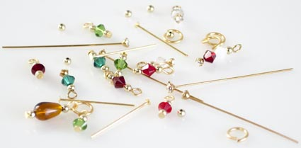 Festive beaded head pins for 12 Days of Christmas Charm Bracelet