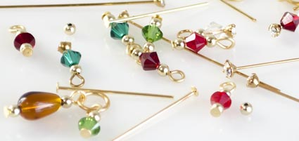 Close-up of beaded Christmas head pins