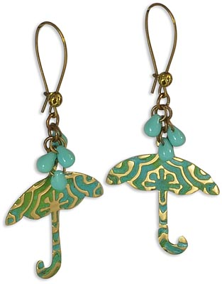 How to make emossed umbrella earrings with the Vintaj BIGkick.