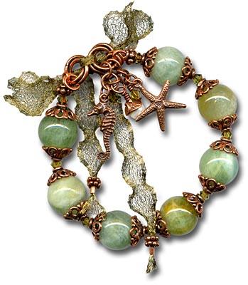 Free gemstone and charm bracelet instructions.