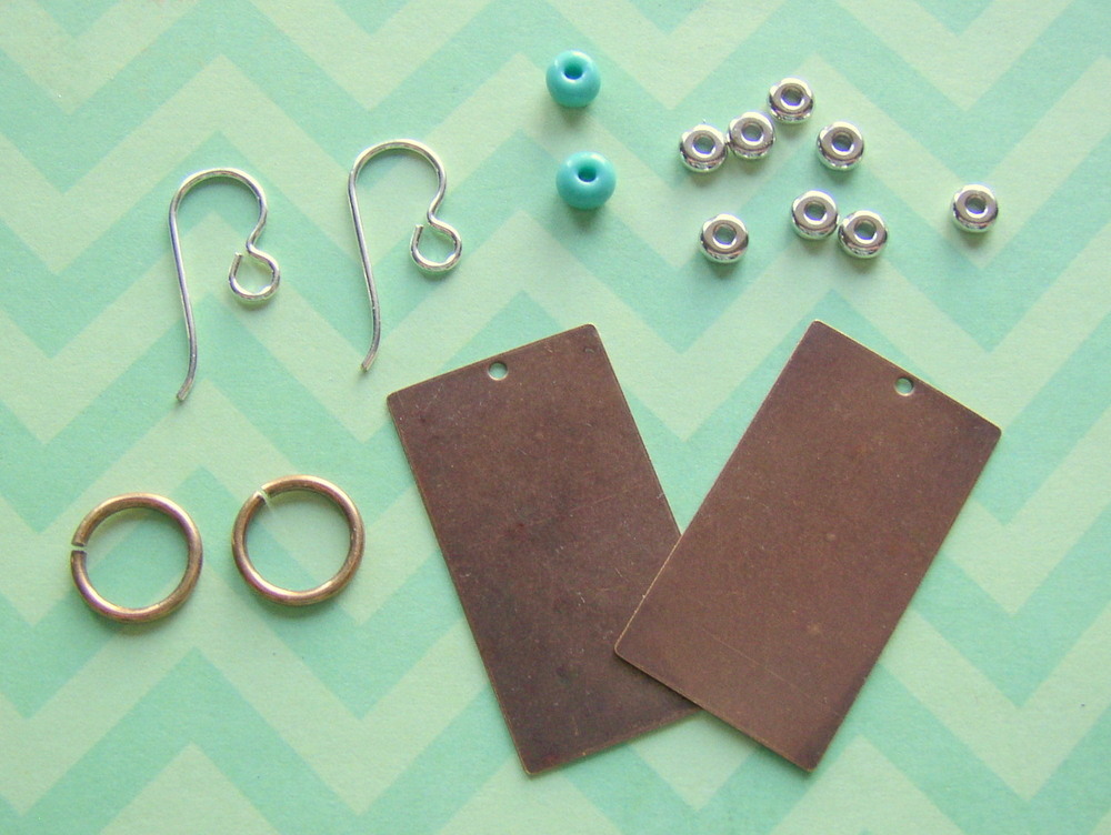 Supplies to make corrugated metal earrings from www.rings-things.com