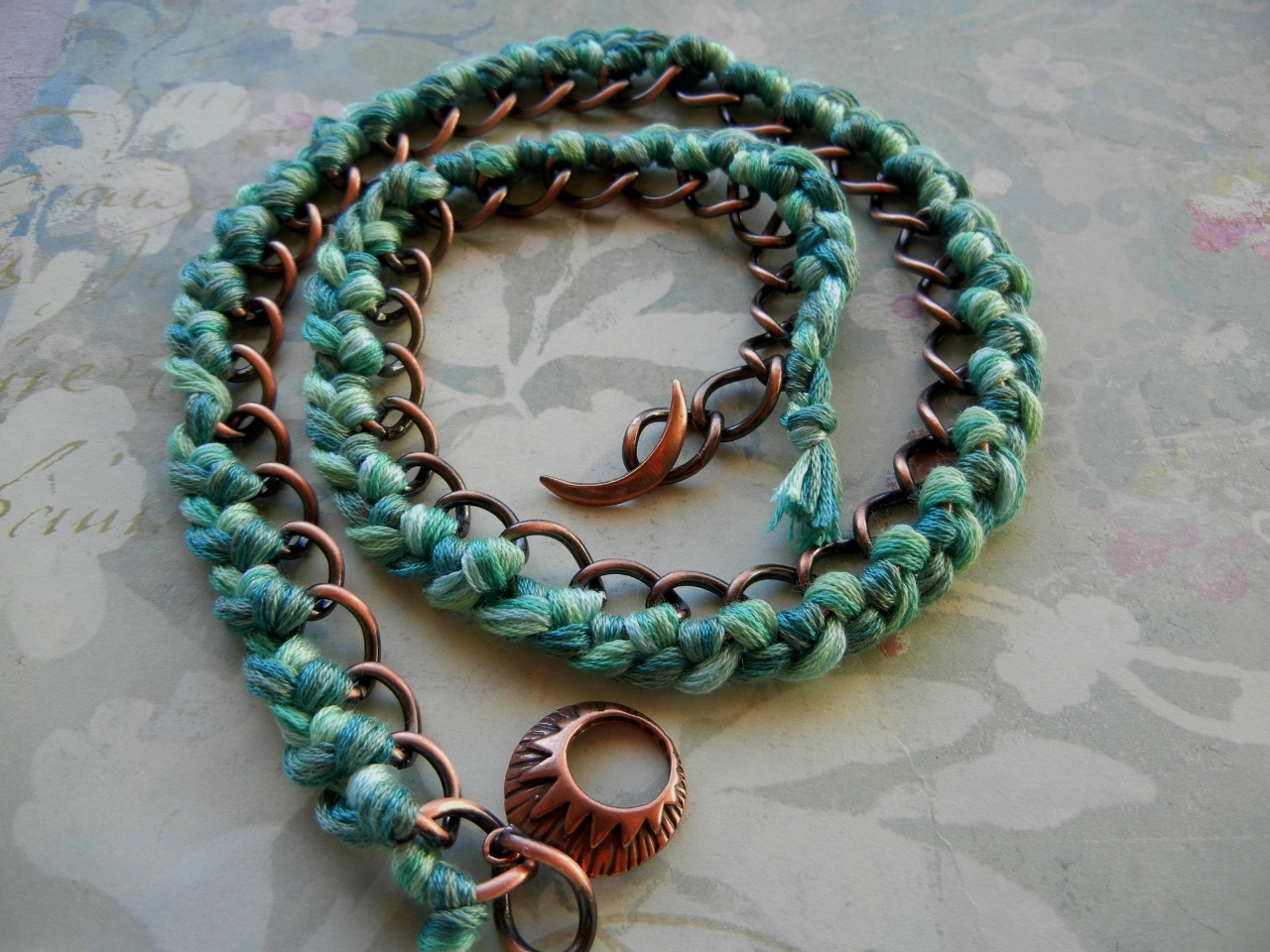 floss bracelet turquoise embroidery diy and chain things antique curb rings triple copper wrapped braided