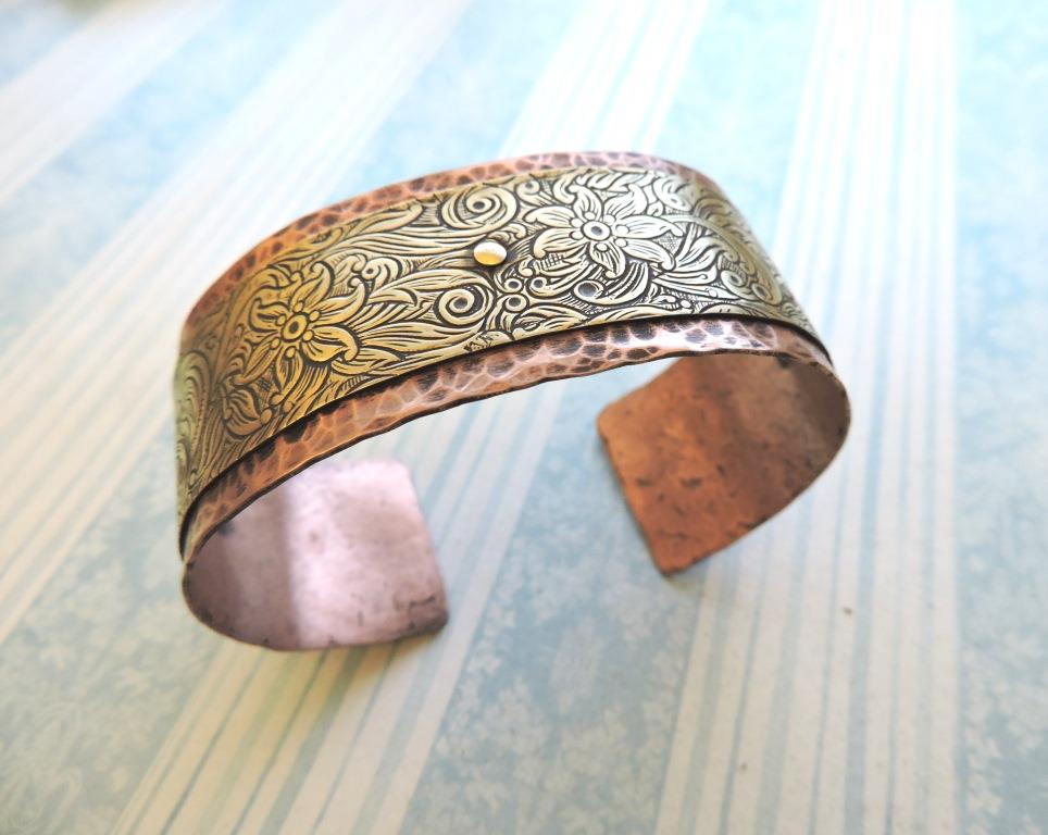 Hammered and riveted cuff bracelet rings and things for Hammered copper jewelry tutorial
