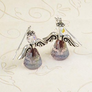 Lilac Shadow Angel Earrings