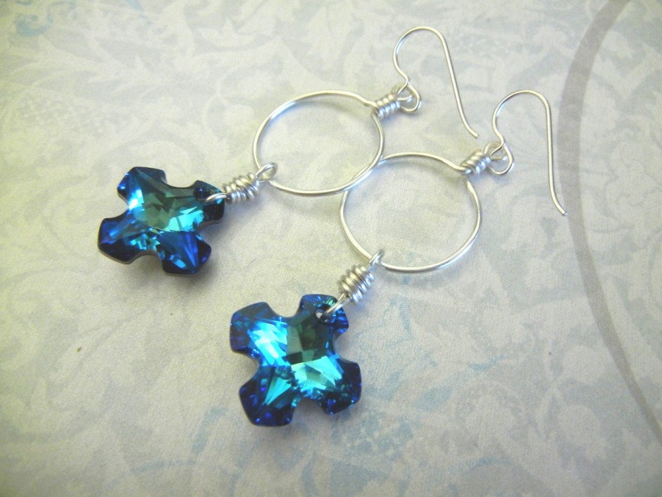 Santorini blue and silver cross earrings featuring swarovski greek i am kind of a nut for swarovski crystals whenever they launch new products i am the first in line to see at rings things we recently started carrying aloadofball Gallery