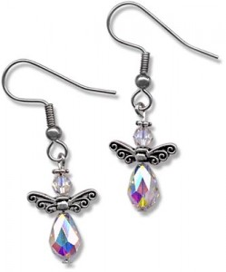 Crystal Angel Earrings with Teardrop Beads