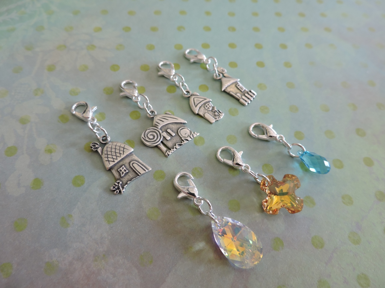 Charm necklaces with interchangeable lobster clasp charms rings an assortment of charm possibilities for your necklaces i used my favorite fairy house silver plated charms and a variety of swarovski crystal pendants aloadofball Images