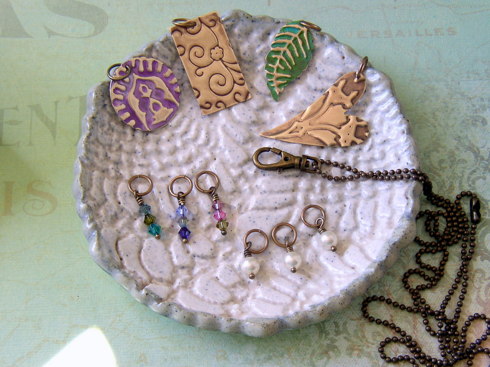Jewelry-making components for a Vintaj interchangeable charm necklace