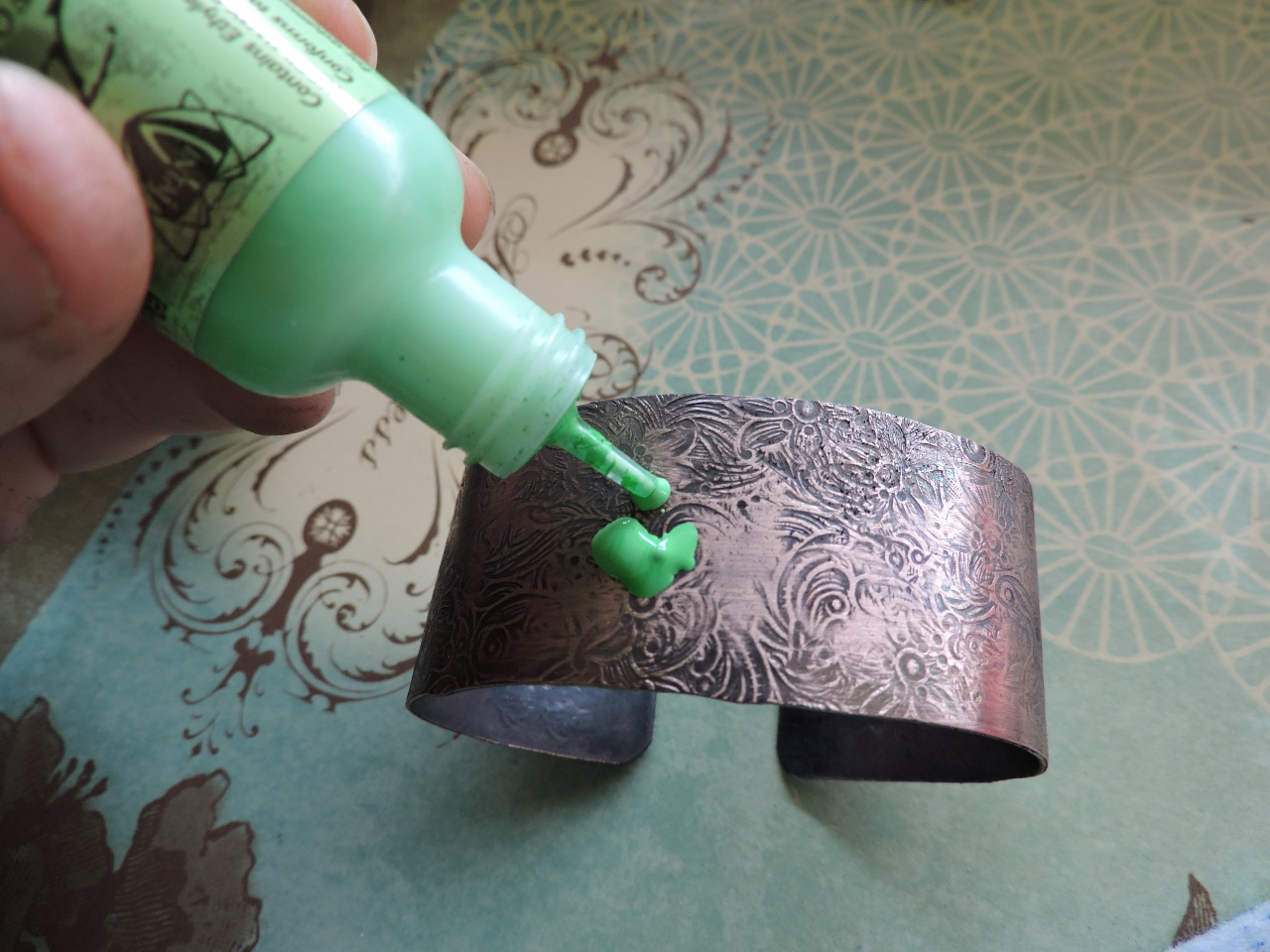 how to turn copper green patina