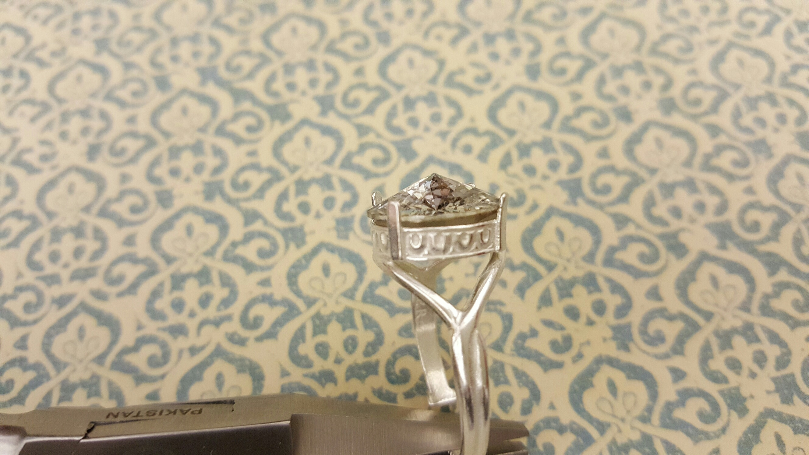 Post Bezel Ring with Stone