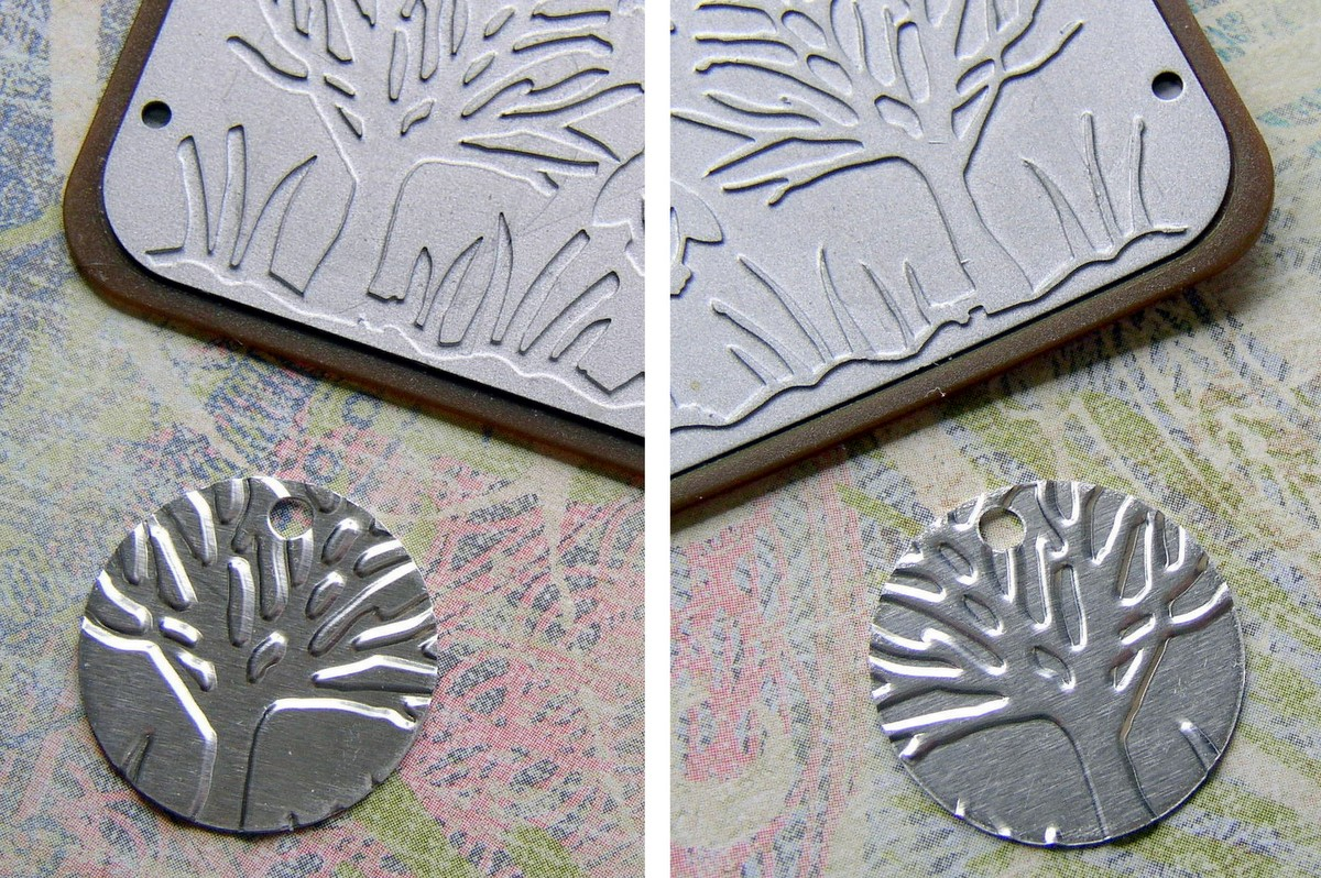 Embossed metal creates a positive and a negative design.