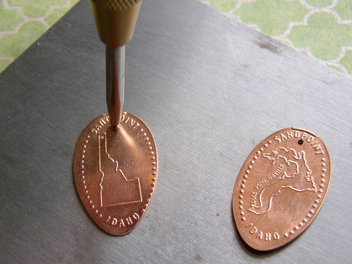 Use a center punch to mark hole position prior to drilling or punching a hole in metal. Souvenir Pressed Penny Earrings