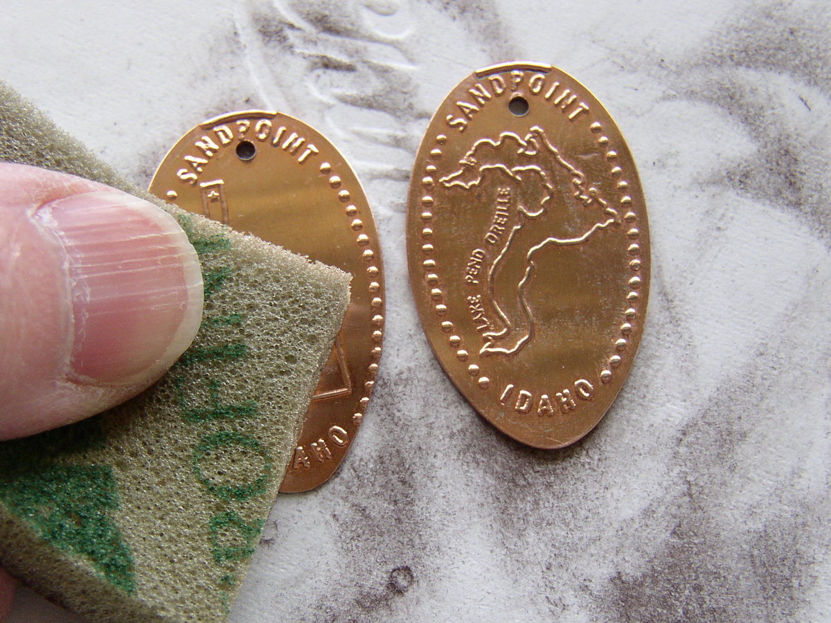 Clean the surface of your Souvenir Pressed Pennies prior to application of patina.
