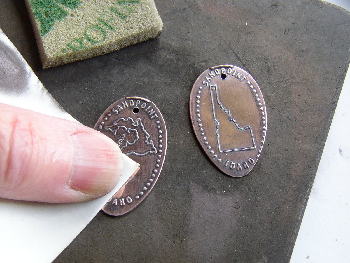 EuroTool ultra polishing pads from Rings & Things work great for poishing to a mirror finish for your Souvenir Pressed Penny Earrings