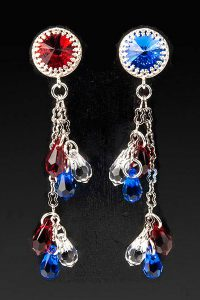 DIY 4th of July Earrings made with Swarovski crystal