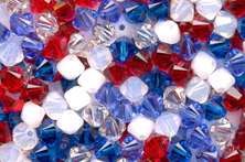 siam (red), white and sparkling sapphire blue crystal bicone bead mix