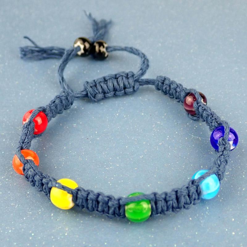 Summer 2020 Trend Large Colorful Beads Glass Pony Beads Big Rainbow Bead Bracelet,tie on Bracelet